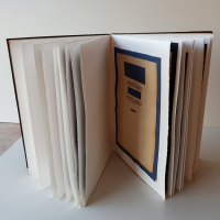 Title Page 2018 Hand bound book, 33 pages 19 images. Collage 29.5 x 21.2 x 2 cm