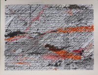 Wendy Kelly. Letter of Introduction 1 2013. Tritpych, panel 1, mixed media on paper. Panel size 30 x 41 cm